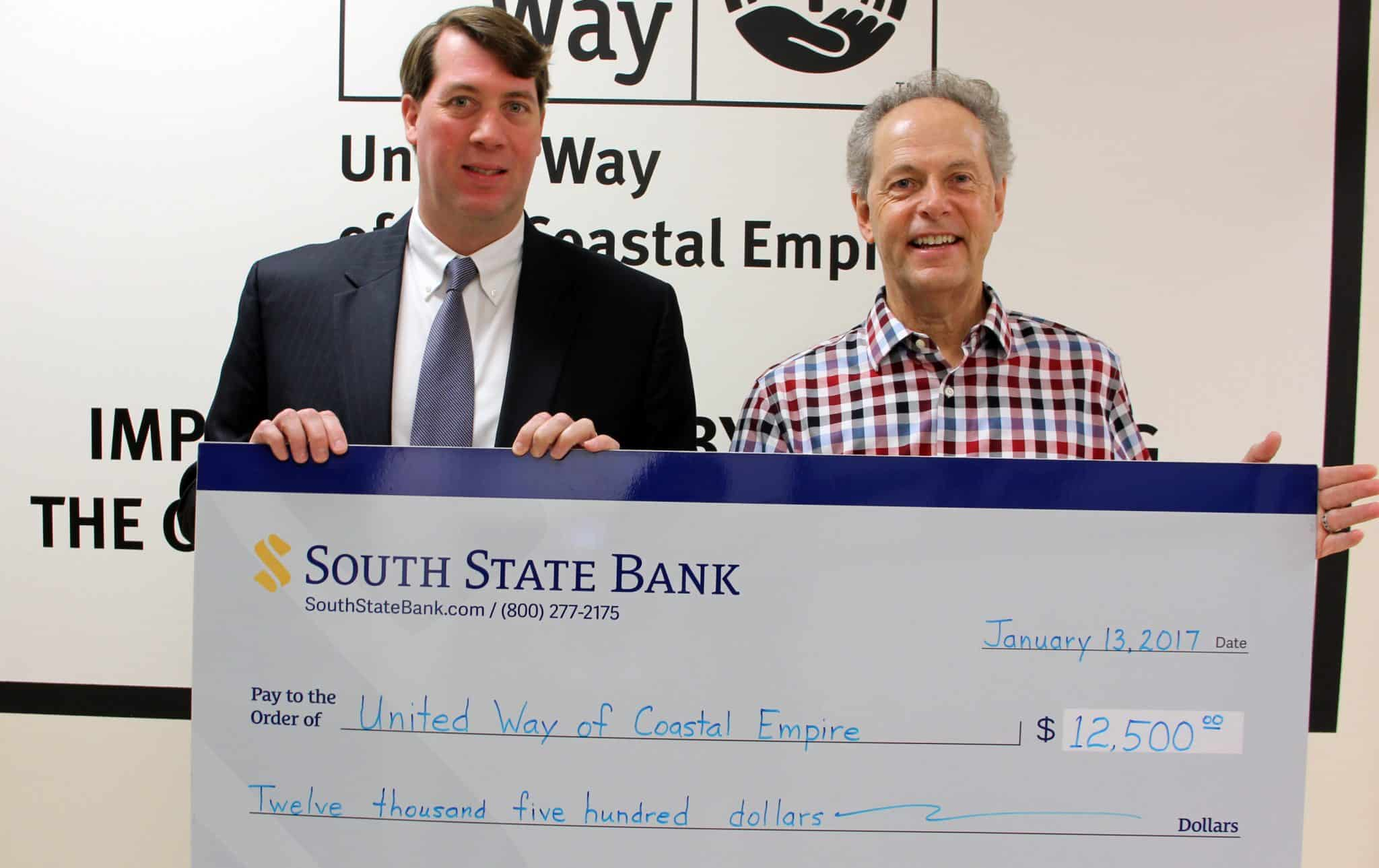 UWCE Receives $12,500 From South State Bank To Help Hurricane Matthew Relief Effort
